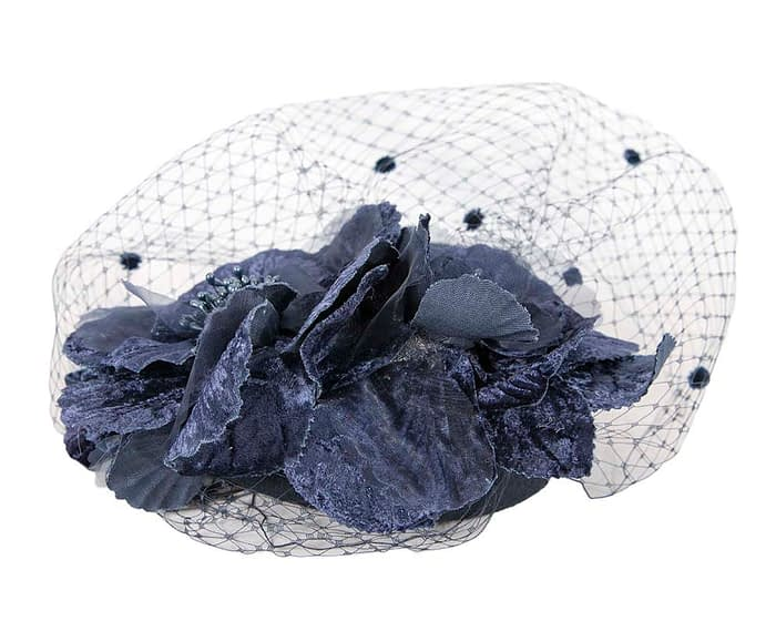 Fascinators Online - Navy Australian Made winter pillbox by Fillies Collection 5