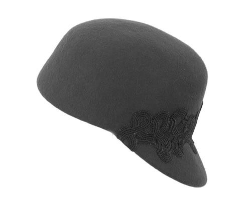 Fascinators Online - Black felt ladies cap with lace 2