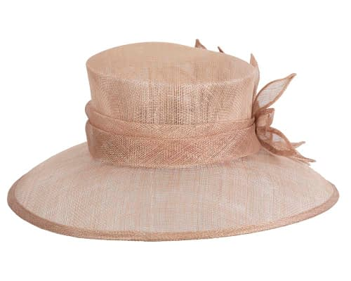 Fascinators Online - Large traditional nude racing hat by Max Alexander 3