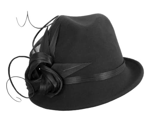 Fascinators Online - Exclusive black felt trilby hat by Fillies Collection 4