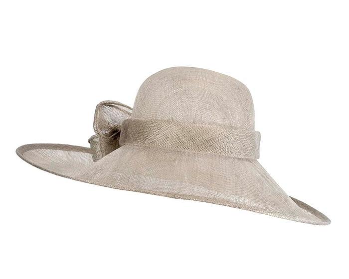 Fascinators Online - Wide brim silver sinamay racing hat by Max Alexander 6
