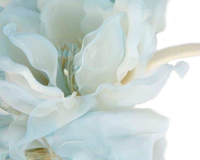 Fascinators Online - Light Blue Silk Flower Fascinator by Fillies Collection 3