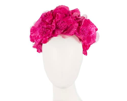 Fascinators Online - Bright Fuchsia flower crown halo 25