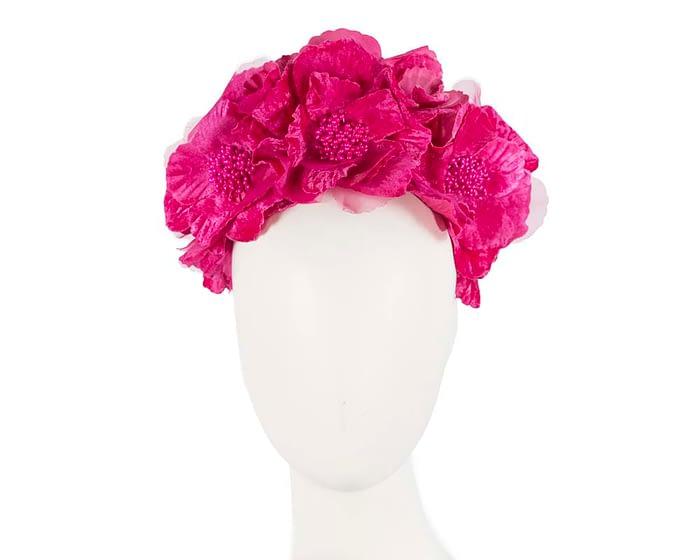 Fascinators Online - Bright Fuchsia flower crown halo 1