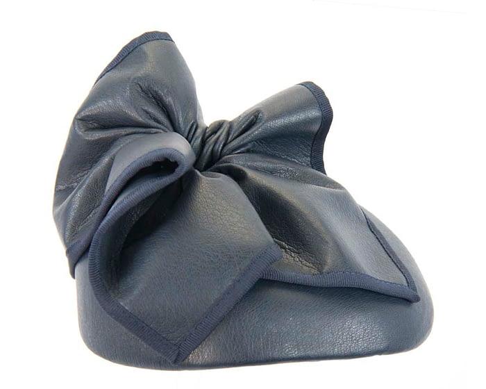 Fascinators Online - Navy leather pillbox fascinator by Max Alexander 4