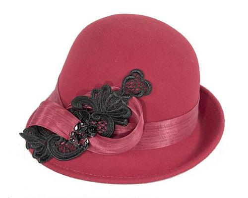 Fascinators Online - Red autumn & winter fashion felt cloche hat by Fillies Collection 2