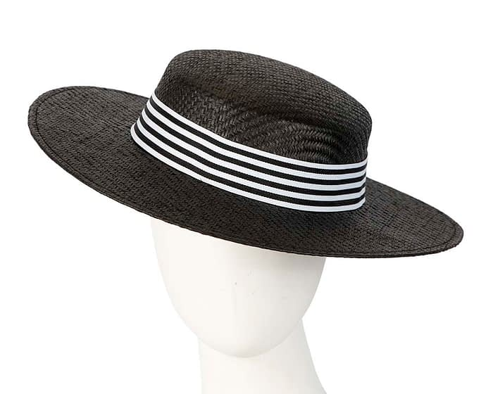 Fascinators Online - Black & white boater hat by Max Alexander 1