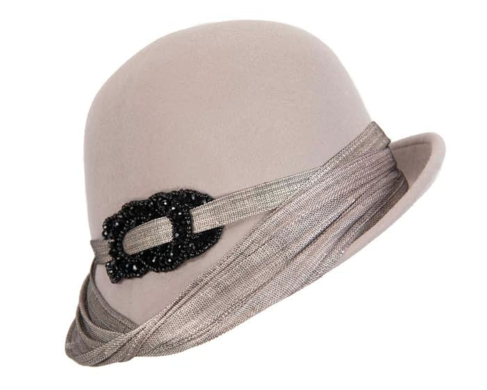 Fascinators Online - Fashion silver grey felt cloche hat by Fillies Collection 2