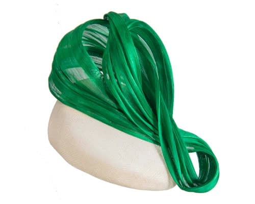 Fascinators Online - Cream pillbox with green bow by Fillies Collection 2
