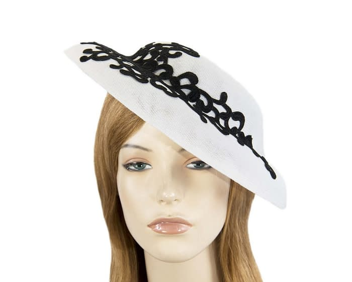 Fascinators Online - White & black fashion boater hat with lace by Max Alexander 1