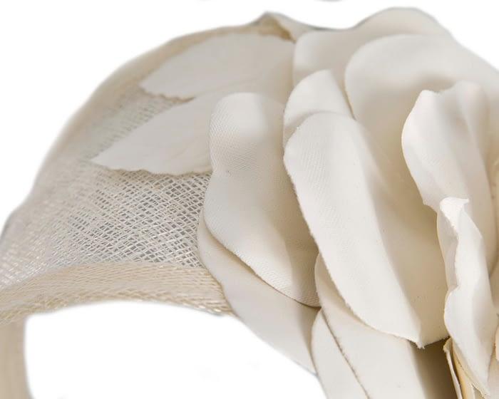 Fascinators Online - Cream leather flower headband fascinator by Max Alexander 3