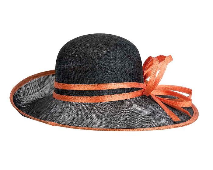 Fascinators Online - Black & Orange ladies sinamay racing hat by Max Alexander 6