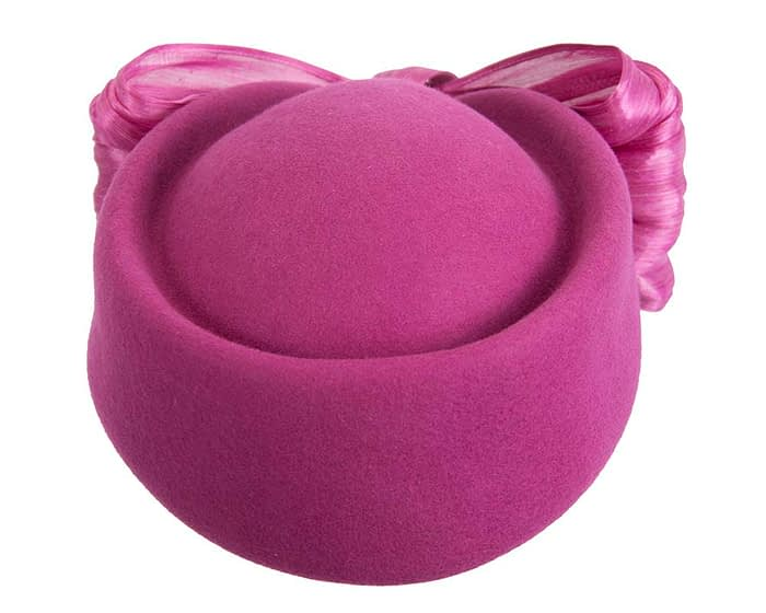 Fascinators Online - Fuchsia felt ladies fashion beret hat with bow by Fillies Collection 7
