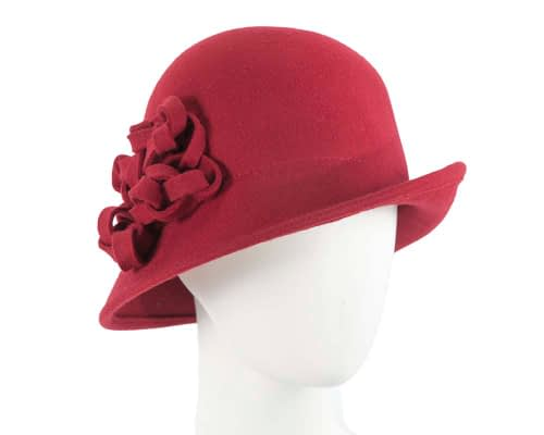 Fascinators Online - Red felt cloche by Max Alexander 3