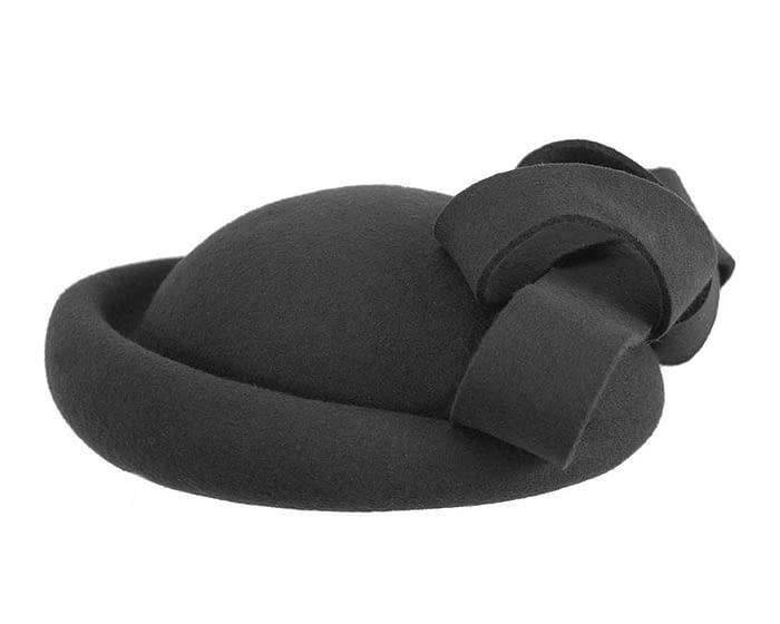 Fascinators Online - Large black felt fascinator hat by Fillies Collection 3