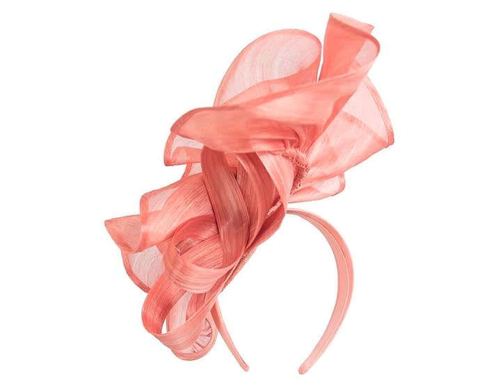 Fascinators Online - Coral sculptured silk abaca fascinator by Fillies Collection 4