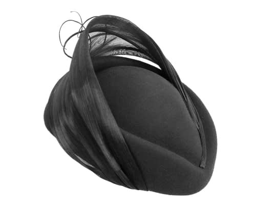 Fascinators Online - Black felt ladies fashion beret hat with feather by Fillies Collection 3