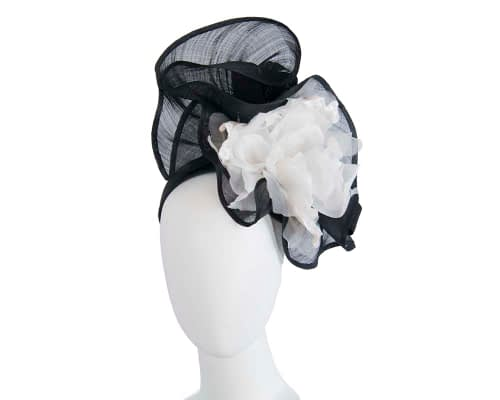 Fascinators Online - Tall black & white silk abaca racing fascinator 1