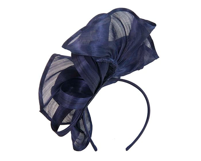 Fascinators Online - Navy sculptured silk abaca fascinator by Fillies Collection 4
