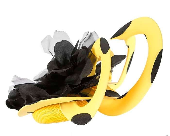 Fascinators Online - Large designers yellow and black fascinator by Fillies Collection 3