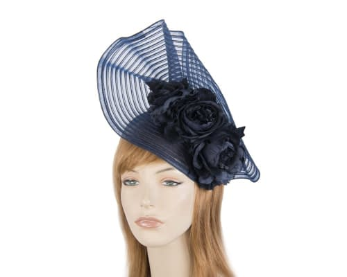 Fascinators Online - Large navy racing fascinator with flowers by Fillies Collection 1