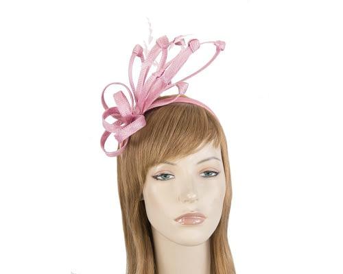 Fascinators Online - Dusty pink spiky sinamay racing fascinator by Max Alexander 1