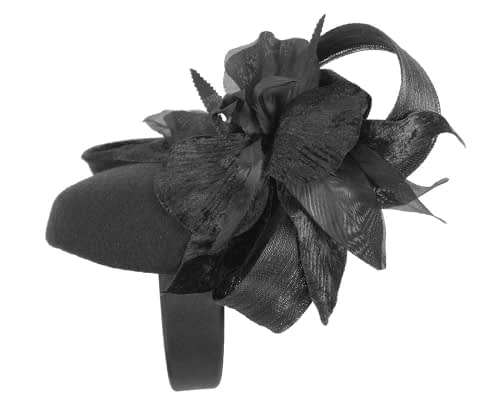 Fascinators Online - Tall black felt pillbox with flower by Fillies Collection 5