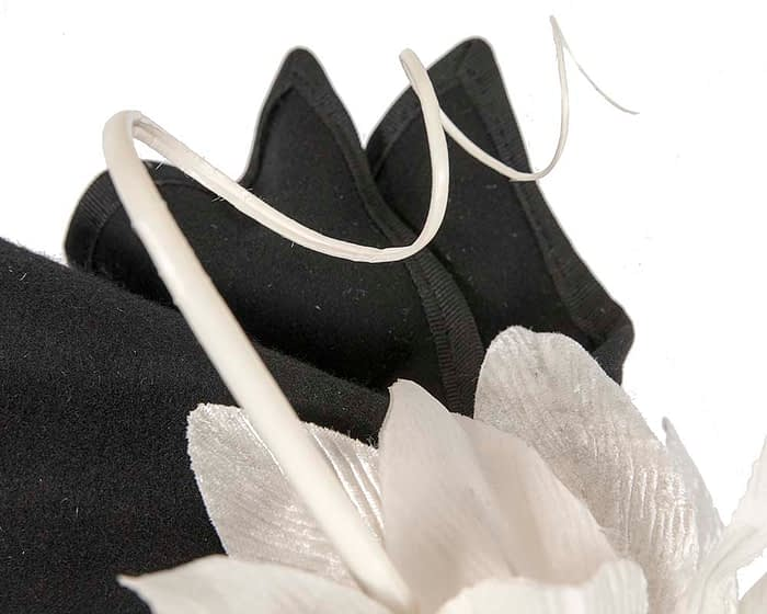 Fascinators Online - Black and Cream winter felt fascinator by Fillies Collection 5