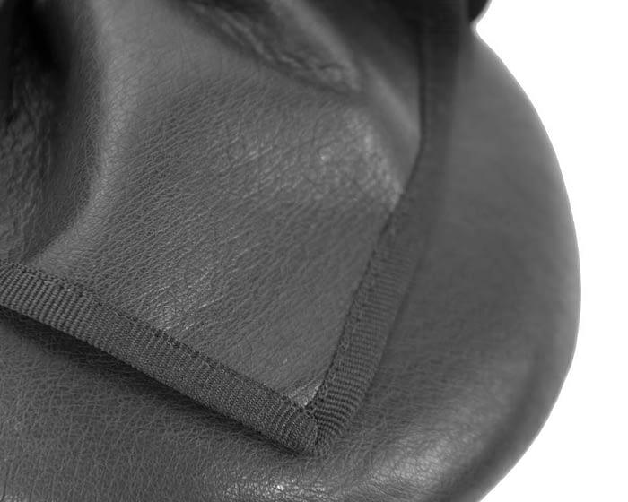 Fascinators Online - Black leather pillbox fascinator by Max Alexander 3