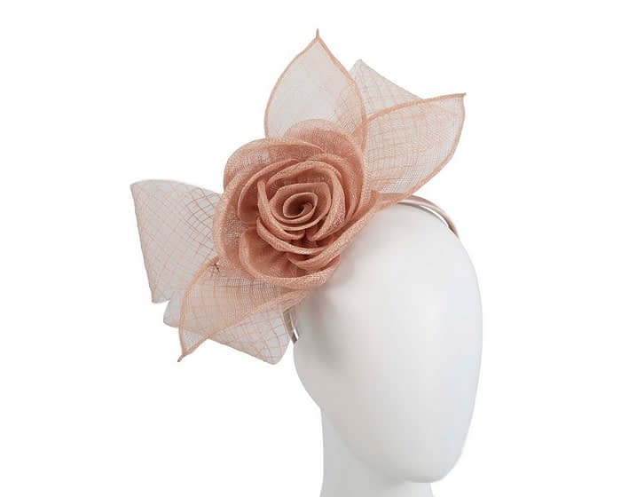 Fascinators Online - Large nude sinamay bow fascinator by Max Alexander 1