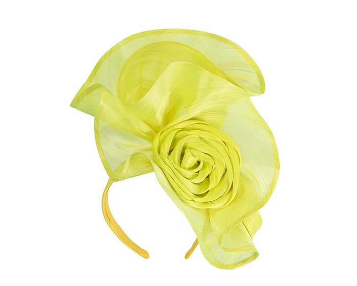 Fascinators Online - Yellow sculptured silk abaca fascinator by Fillies Collection 2