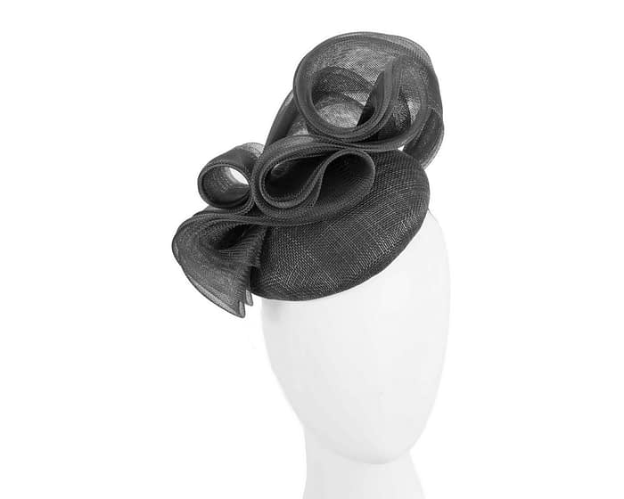 Fascinators Online - Black pillbox racing fascinator with wave by Fillies Collection 1