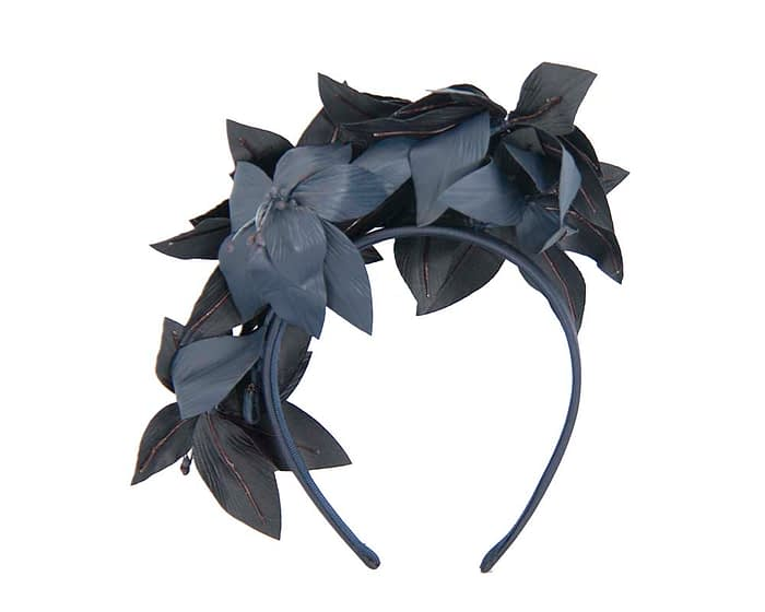 Fascinators Online - Navy leather flower headband by Fillies Collection 4