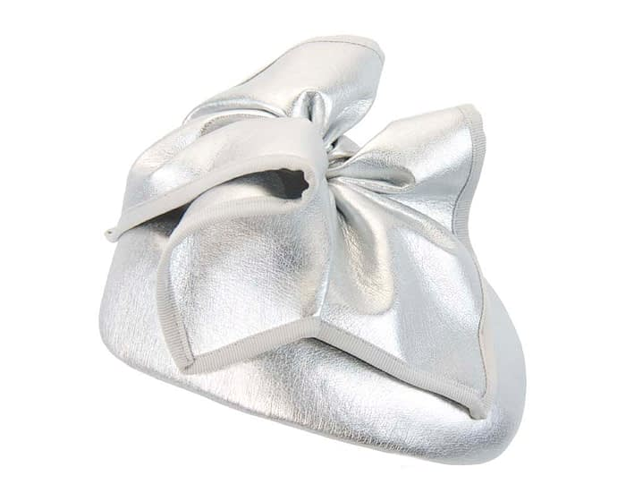 Fascinators Online - Silver leather pillbox fascinator by Max Alexander 4