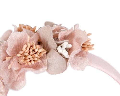 Fascinators Online - Racing fascinator - Silver/Pink flowers on headband by Max Alexander 3