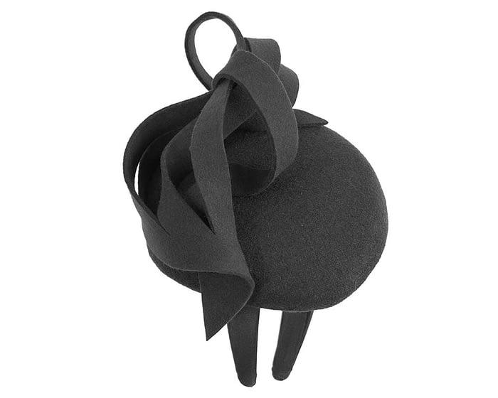 Fascinators Online - Unusual black felt pillbox fascinator by Fillies Collection 6