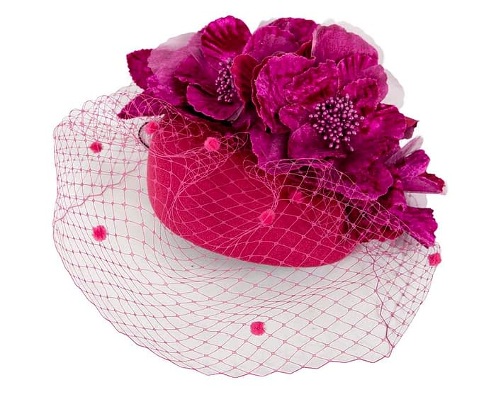 Fascinators Online - Fuchsia Australian Made winter pillbox by Fillies Collection 2