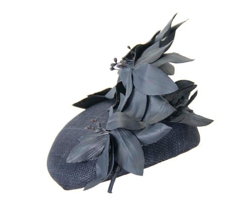 Fascinators Online - Navy leather flower pillbox fascinator by Fillies Collection 3