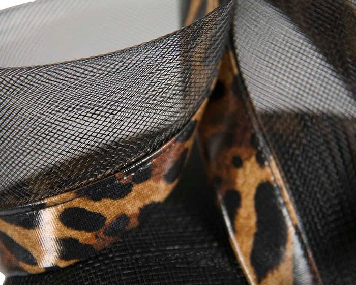 Fascinators Online - Tall modern black & leopard pillbox racing fascinator 5