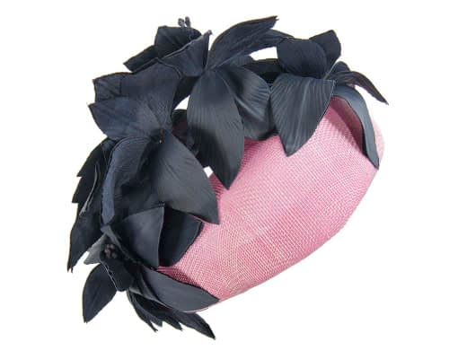 Fascinators Online - Pink & navy leather flower pillbox fascinator by Fillies Collection 5