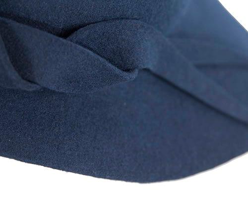 Fascinators Online - Unusual navy felt wide brim hat by Max Alexander 5