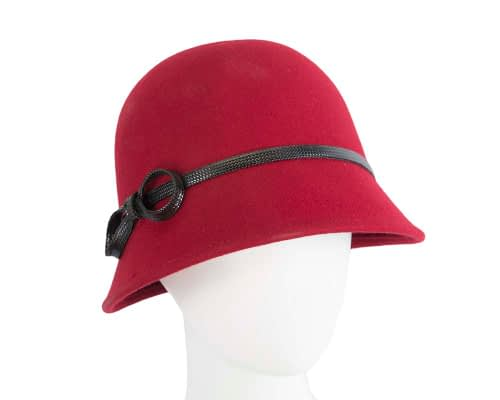 Fascinators Online - Red felt cloche hat by Max Alexander 18