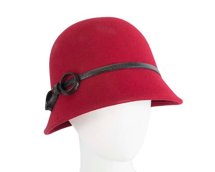 Fascinators Online - Red felt cloche hat by Max Alexander 1