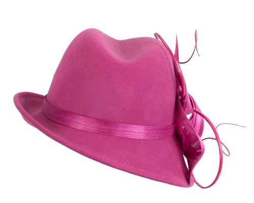Fascinators Online - Exclusive fuchsia felt trilby hat by Fillies Collection 6