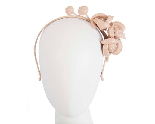 Fascinators Online - Nude leather flowers headband by Max Alexander 7