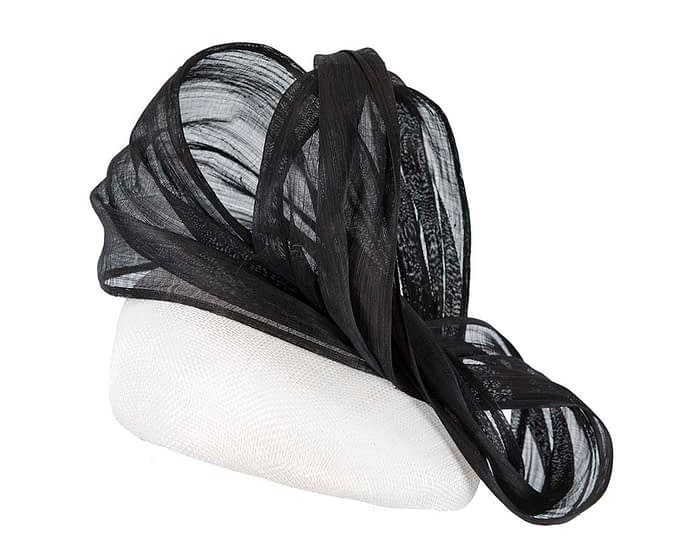 Fascinators Online - White pillbox with black bow by Fillies Collection 4