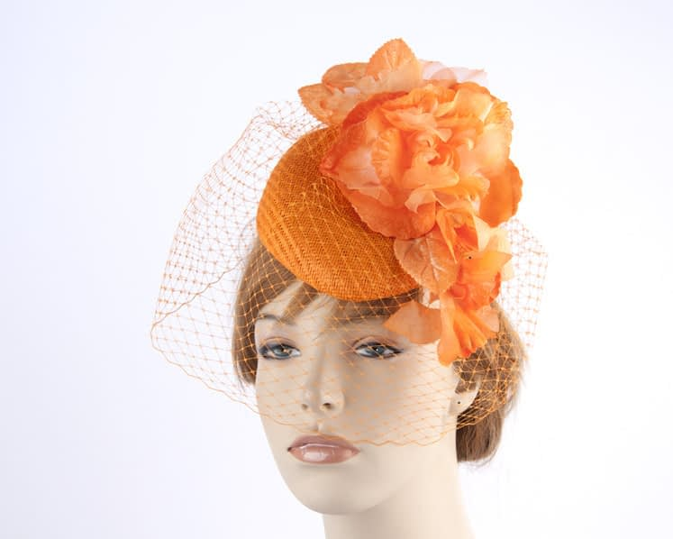 Orange pillbox with face veiling