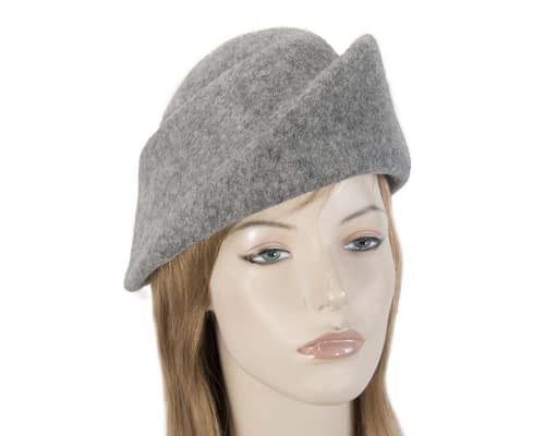 Fascinators Online - Designers grey marle felt hat 4