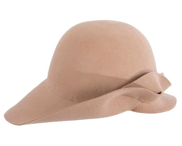 Fascinators Online - Unusual beige felt wide brim hat by Max Alexander 4