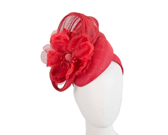 Fascinators Online - Red pillbox fascinator with large flower by Fillies Collection 1